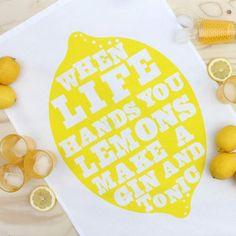 Gin Lemons Tea Towel #bestofhowkapow