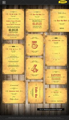 wedding journal invitation package journal print templates and typography - Wedding Invitation Bundles