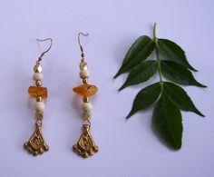Amber Brass Earrings Gypsy Earrings Gold Earrings by #YemayaSoul #Tribal #Bohemian #Jewelry