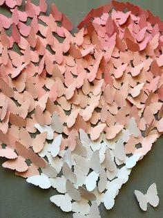 Mariposa 3D arte de pared luz rosa en corazón por TheCoralCanopy