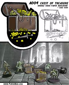 Chest of treasure paper miniature for dungeons and dragons. Print and play it along with others creatures of monster manual 5e available on my patreon website www.PaperMini.com Miniature Bases, Dungeons And Dragons, Trending Memes, Funny Jokes, Creatures, Miniatures, Entertaining, Templates, Paper