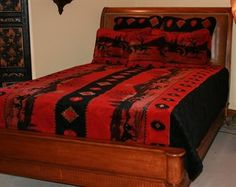 Paint your bedroom with warm color Red Running Horses Microplush Bed Set. Warm, soft, and best for all seasons.
