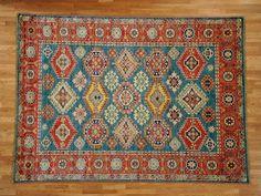 Hand Knotted 5 X7 100 Wool Tribal Geometric Super Kazak Oriental Rug
