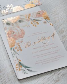 Obsessed with these embossed + gilded wedding invitiations.