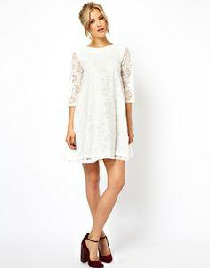 Image 4 ofASOS PETITE Lace Swing Dress with Half Sleeve