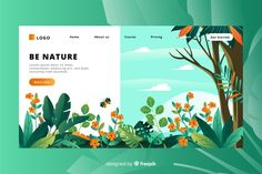 Flat nature landing page template Vector Design Sites, Web Design Trends, Page Design, Graphic Design Inspiration, Website Layout, Web Layout, Layout Design, Design Design, Motion Design