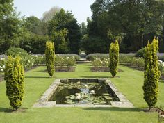 The Sunken Rose Garden and Garden Rooms beyond at Eltham Palace