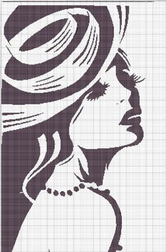 0 point de croix monochrome visage de femme - cross stitch lady's face, girl's face