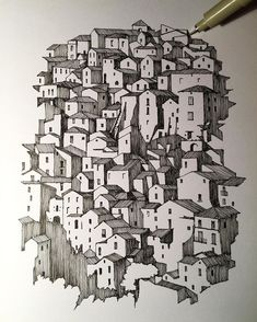 Italy feeding my inspiration. Ink Pen Art, Ink Pen Drawings, Art Drawings Sketches, Stylo Art, Perspective Art, Pen Sketch, Landscape Drawings, Ink Illustrations, Art Sketchbook