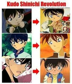 Detective Conan. It's amazing to me how young Shinichi looks so different from Conan. It's the same character but depicted so differently that you can usually tell quickly who it is... or rather Shinichi's mental age in the image.