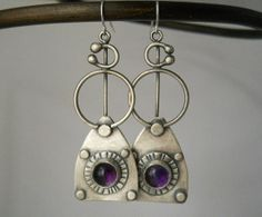 amethyst tribal earrings in sterling silver by Q2jewelrycollection, $65.00