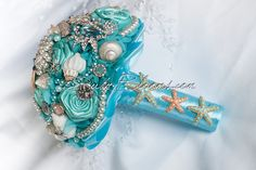 Bridal Brooch Bouquet. Deposit on Aqua Ash Breeze by Rubybloomscom