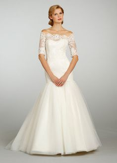 Jim Hjelm 3/4 Sleeve Lace & Tulle Ball Gown - Nearly Newlywed Wedding Dress Shop