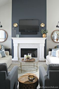 Tall fireplace wall transformation with paint! - - Tall fireplace wall with white surround painted in the dark and lovely Cyberspace by Sherwin Williams. Blue Accent Walls, Accent Wall Colors, Accent Walls In Living Room, Living Room Grey, Paint Accent Walls, Painting An Accent Wall, Dark Blue Walls, Wall Accents, Living Rooms