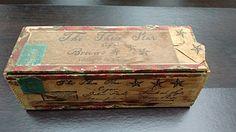"""Cigar Box, Vintage Wooden Tobacciana Cigar Box, Julius Fecht, """"The Three Star…"""