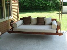 Ideas, hanging daybed porch swing hanging daybed porch swing exterior comfortable terrace with porch swing bed plans teak 1500 x 1125 . Porch Bed Swing Plans, Farmhouse Porch Swings, Outdoor Porch Bed, Bed Plans, Diy Porch, Outdoor Living, Daybed Outdoor, Outdoor Balcony, Sofa Area Externa