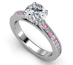 Engagement Ring - Diamond Engagement Ring Pink Sapphires & Diamonds band in White Gold - from MDC Diamonds. Saved to engagement rings. Sapphire And Diamond Band, Pink Diamond Ring, Blue Sapphire Rings, Diamond Bands, Pink Sapphire, Diamond Wedding Bands, Pink Diamonds, Wedding Rings, Sapphire Wedding