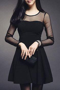 $7.40 Fashionable Women's Voile Splicing Long Sleeve Jewel Neck Dress