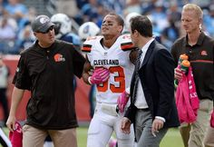 Browns vs. Titans:      October 16, 2016  -  28-26, Titans  -     Cleveland Browns free safety Jordan Poyer (33) walks off the field after being shaken up on a play against the Tennessee Titans in the first half of an NFL football game Sunday, Oct. 16, 2016, in Nashville, Tenn.
