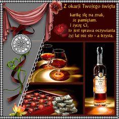 Urodziny i imieniny: Gify urodzinowe Happy Birthday Drinks, Happy Birthday Wishes Cards, Birthday Greetings, Wine Bottle Images, Shop Logo, Birthday Images, Whiskey Bottle, Birthdays, Personality Types
