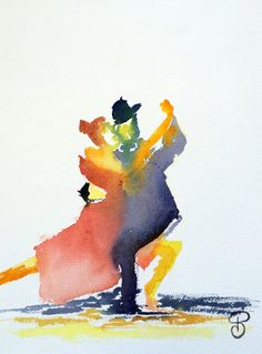 Impression Tango danse peinture aquarelle danseurs art - Printed Art Limited Edition