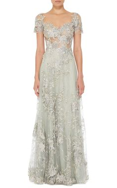 Patricia Bonaldi Embroidered and Beaded Illusion Bodice Dress - Preorder now on Moda Operandi