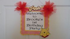 Winnie the Pooh Welcome Door Sign Birthday by ASweetCelebration