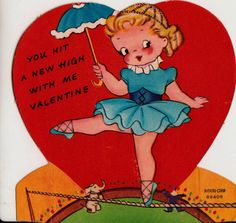 Vintage 1930s You Hit A New High With Me Valentine Ballerina Greetings Card (B7)
