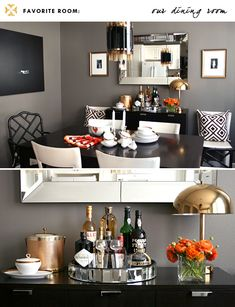 Not a large space, but a mighty space. The size of a space has nothing to do with making it beautiful. This is simply a stunning, functional, well designed dining room. Love, love the wall color. It makes the the artwork pop and grounds the room. Sincerely, JoAnne Craft