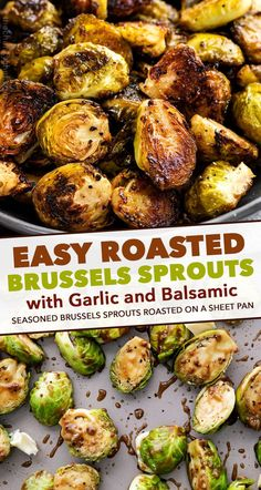 Brussels sprouts are tossed in a drool-worthy combination of garlic, balsamic vinegar, mustard, and olive oil, then roasted until perfectly tender yet caramelized. Side dish ready in 30 minutes! Brussel Sprouts Recipe Oven, Roasted Sprouts, Cooking Brussel Sprouts, Oven Roasted Brussel Sprouts, Vegan Brussel Sprout Recipes, Roasted Balsamic Vegetables, Brussel Sprouts Balsamic Vinegar, Garlic Sprouts, Brussle Sprouts