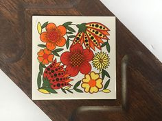 Vintage 1960s Wooden Maison International Ltd. Cheese Platter Snack Tray w/ Ceramic Tile Insert w/ Orange, Yellow & Red Stylized Flowers by TheDustyWingVintage on Etsy