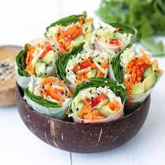 Raw Summer Rolls are always a good idea  Asian dipping sauce recipe  1/4 cup natural peanut butter  1/4 cup filtered water  2 tbs tamari  2 tbs rice vinegar or apple cider  1 tbs coconut sugar  1 crushed garlic  1 squeezed lime   Blend or whisk all ingredients until smooth!    www.coconutbowls.com