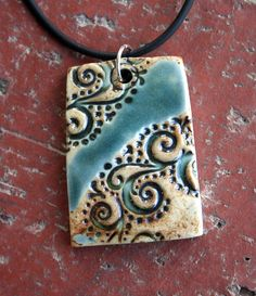Teal+Green+Rustic+Swirls+Porcelain+Pendant+by+muddyfingers+on+Etsy
