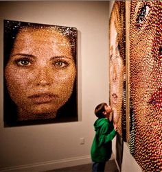 Artist Eric Daugh uses multi-colored Push Pins to create visually stunning portraits- over 11,000 pushpins can be used in a single piece