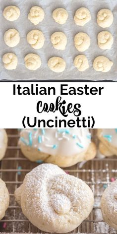 Italian Easter Cookies - Uncinetti - These Traditional Cookies are made with a quick and easy dough. A simple lemon glaze tops these Ita - Italian Easter Cookies, Italian Christmas Cookie Recipes, Easter Cookie Recipes, Italian Cookie Recipes, Italian Desserts, Cookie Desserts, Holiday Recipes, Easter Desserts, Tiramisu