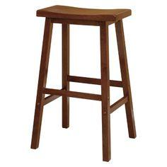 "Saddle Seat 24"" Counter Stool Hardwood/Walnut - Winsome : Target"