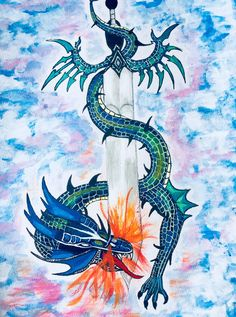 Inspired by Game of Thrones this dragon is painted - breathing fire coiled around a sword. The sky through which it is flying is all blue amidst whilte cotton like clouds. Breathing Fire, Sword, Moose Art, My Etsy Shop, Dragon, Clouds, Sky, Blue, Animals