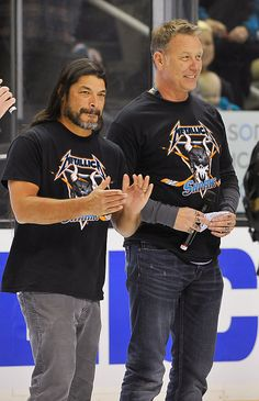 Robert Trujillo and James Hetfield of Metallica attend Metallica Night At The San Jose Sharks Game on January 21, 2015 in San Jose, California