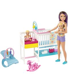 Check out Barbie Skipper Babysitters Inc Nap 'n' Nurture Nursery Dolls and Playset featuring 15 pieces for storytelling fun! Explore dolls and playsets at our Barbie shop today! Mattel Barbie, Barbie Shop, Barbie Doll Set, Barbies Dolls, Baby Barbie, Barbie Doll Stuff, Dolls Dolls, Barbie Clothes, Accessoires Barbie