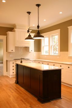 Cherry Island, with painted, inset, shaker cabinets