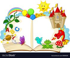 Stock Vector Fantasy Book Cartoon Royalty Free Cliparts, Vectors, And Stock Illustration. School Board Decoration, Art Classroom Management, Boarder Designs, Kids Reading Books, School Frame, Kids Background, Borders For Paper, Kindergarten Art, Book Images