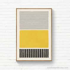 Wall Art Sets, Diy Wall Art, Diy Art, Orange Wall Art, Yellow Artwork, Yellow Painting, Cuadros Diy, Striped Walls, Boho Living Room
