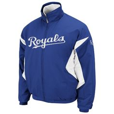 Kansas City Royals Long Sleeve Lightweight Full Zip Thermabase Premier Jacket, Blue/White