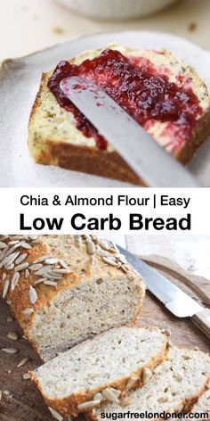 This chia and almond flour low carb bread recipe has a texture just like whole-wheat bread and can be baked as a loaf or as rolls. A perfect everyday grain free bread, this easy recipe is gluten free, Keto and delicious with sweet and savoury toppings. Coconut Flour Bread, Almond Flour Recipes, Honey Bread, Almond Flour Baking, Keto Almond Bread, Quinoa Flour Recipes, Herb Bread, Almond Meal, Oat Flour
