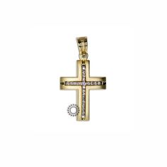 Ένας λιτός και κομψός σταυρός γυναικείος ή βαπτιστικός του οίκου ΤΡΙΑΝΤΟΣ από χρυσό Κ14 με ζιργκόν στο κέντρο #τριαντος #γυναικειος #βαφτιση #χρυσο #σταυρος Gold Cross, Symbols, Jewellery, Party, Pendants, Crosses, Jewels, Schmuck, Parties