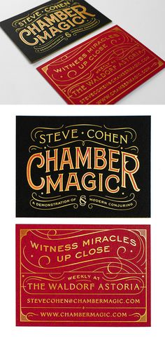 Beautiful Typography On A Gold Foil Stamped Business Card For A Magician