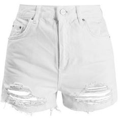 TopShop Tall White Raw Hem Mom Shorts
