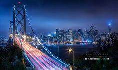 Oakland bridge San Francisco by Motiontography. San Francisco City, San Francisco Skyline, Monuments, Landscape Photography, Fine Art, Travel, Canvas, Tela, Viajes