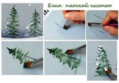 4 Mini tutoriels pour peindre des sapins d'hiver! Vous pourrez peindre sur des toiles d'hiver, mais aussi sur vos cartes de souhaits ou des assiettes de porcelaine décoratives, ou sur de jolis boites de bois! Comme la technique est la même pour tous
