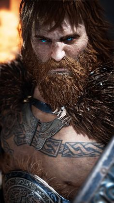 Viking Art, Viking Runes, Santa Monica, Kratos God Of War, Beard Tattoo, Norse Mythology, Fantasy Characters, Character Art, Concept Art